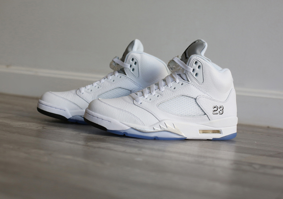 all white jordan retro 5